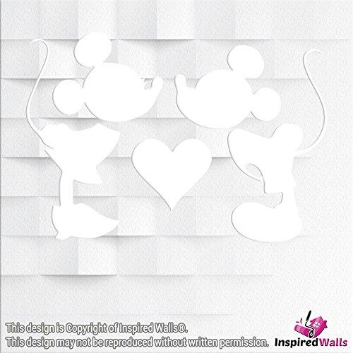 Minnie & Micky Maus Vinyl-Sticker, Dekoration, glitzernd, für Weingläser, Wände, Becher, Laptops, Tassen, von Inspired Walls®, weiß (Minnie Maus-kühlschrank)