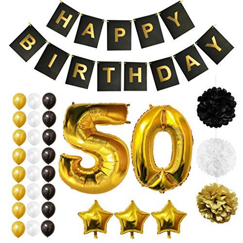 BELLE VOUS Globos Cumpleaños Happy Birthday, Suministros y Decoración Globo Grande de Aluminio - Decoración Globos De Látex Dorado, Blanco y Negro - Apto para Todos los Adultos (Age 50)