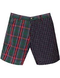 Gant Rugger Hommes Shorts Bleu foncé/Vert R.1. Poplin Double Check Shorts 21084-105