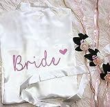 Morgenmantel Weiß Braut Brautjungfer Name - komplett personalisierbar