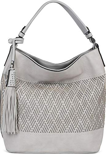 styleBREAKER Damen Hobo Bag Handtasche mit Cutouts in Rauten Form und Quaste, Shopper, Schultertasche, Tasche 02012285, Farbe:Hellgrau