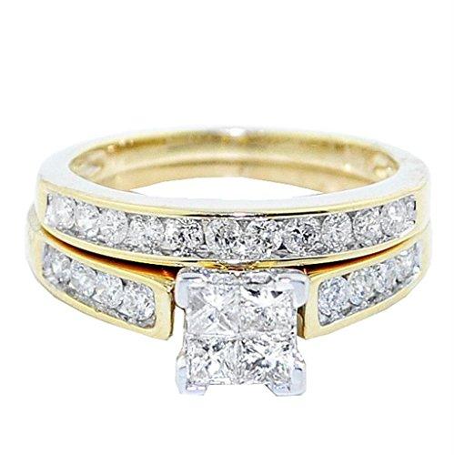 rings-midwestjewellery. COM Damen 10K Gelb Gold Prinzessin Schnitt Diamant Hochzeit Ring Set 1Karat 2-teiliges Set (Gelber Princess-cut Diamant-ring)
