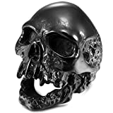 MunkiMix Acero Inoxidable Anillo Ring Negro Cráneo Calavera Talla Tamaño 15 Hombre