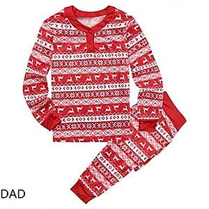 SCU-SS Pijamas Familiares para La Fiesta Navidad Manga Larga Tops Pantalones Rayas Blancas Rojas Adulto Niño Bebé Traje… 8