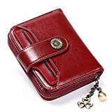SENDEFN RFID Blocking Wallet for Women Genuine Leather Short Wallet Ladies Purses Small Wallet Card Holder Zipper Coin Pocket