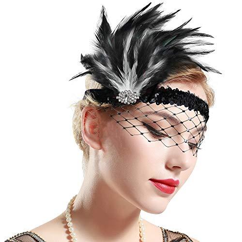 Flapper Weiß Kostüm - ArtiDeco 1920s Stirnband Feder mit Abnehmbarem Netz Damen 20er Jahre Fascinator Stil Flapper Charleston Haarband Great Gatsby Damen Fasching Kostüm Accessoires (Schwarz Weiß)
