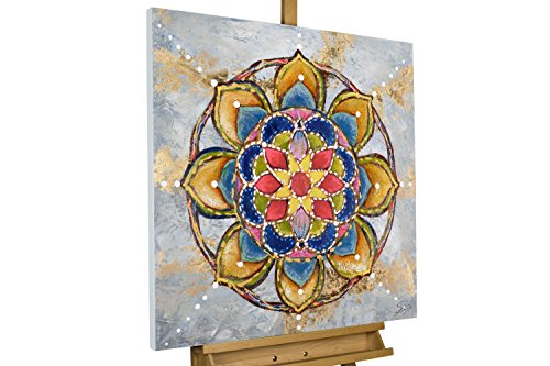 KunstLoft® Acryl Gemälde 'Mandala Love' 80x80cm | original handgemalte Leinwand Bilder XXL | Bunte...