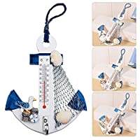 VEVICE Hanging Hook Wood Thermometer Anchor Beach Shells Nautical Wall Home Bathroom Door Decoration (Random Color and Style)