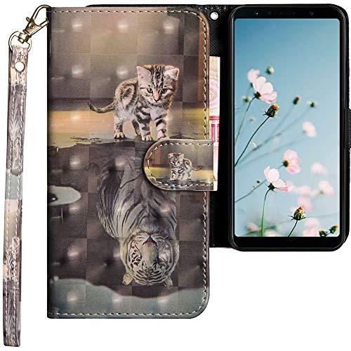 CLM-Tech kompatibel mit Samsung Galaxy A7 (2018) Hülle, Tasche aus Kunstleder PU Lederhülle, Wallet Klapphülle mit Stand und Kartenfächern, Katze Tiger grau -