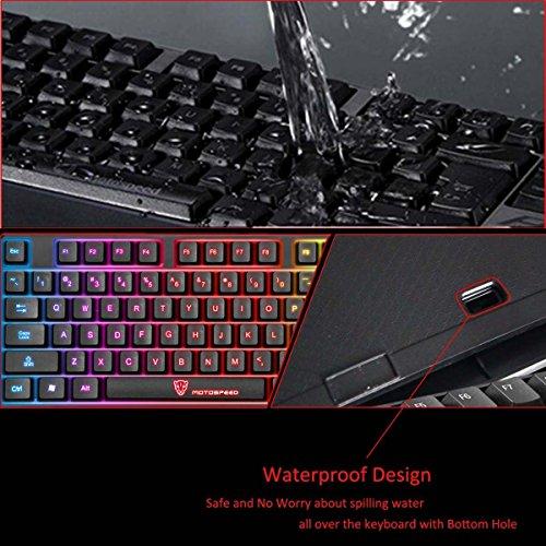 Gocheer Beleuchtet Bunt Tastatur 104 QWERTY USB RGB Gaming Tastatur Hintergrundbeleuchtung LED Regenbogen Wasserdicht Ergonomisch Tastatur für Computer PC Laptop Dell Mac Notebook Lenovo HP - 4