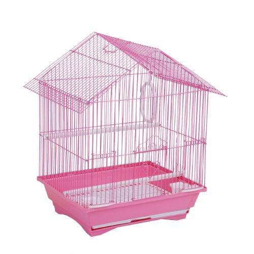 Cage à oiseaux en acier Rose + Mangeoires Balançoire Perchoir Tiroir