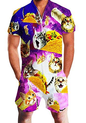 Chicolife Herren Tier Gedruckt Kurzarm Overall Cargo Pants Zip Tops Rompersuits Sommer Outfits