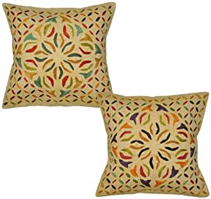Ethnic Embroidery Embelished Cut Work Cotton Cushion Cover 16 Inches 2 Pcs