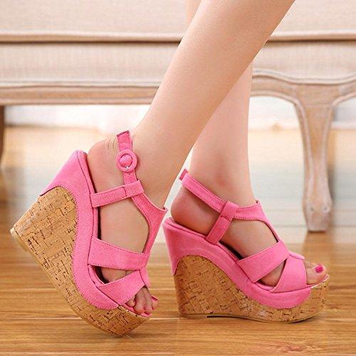 LvYuan Sandali / ufficio / carriera / scarpe ultra sexy / piattaforma impermeabile sexy / tallone / chiodo / stile nazionale Bohemian Pink
