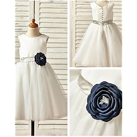 ZY/al ginocchio a-line Flower Girl Dress–Raso/Tulle Senza Maniche, Ivory, child-11