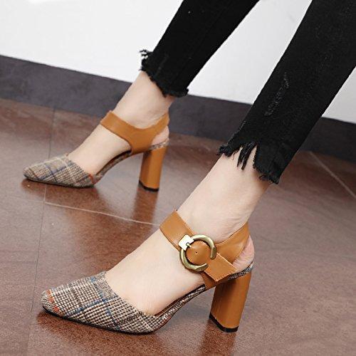 Xue Qiqi Square retro bold Schuhe mit einer einzigen kleinen Stil sub Baotou Sandalette High Heels Damen Schuhe, 37, Braun (Sub Square)