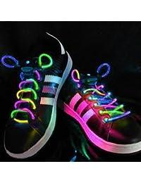 Cordones para zapatillas PowerLead G040 con luz LED Flash, impermeables, multicolor, con 3 modos