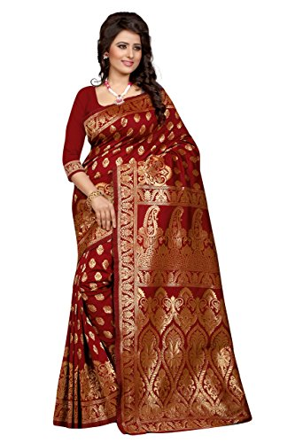 Shree Sanskruti Women's Tussar Silk Saree With Blouse Piece (Banarasi 1002 Red_Red)