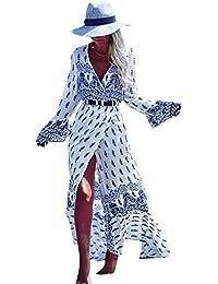 LaoZan Femme Longue Robe Bohême Robe en Tissu Imprimé Robe Fendue Robe Manches Longue