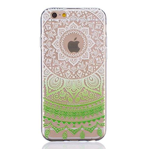 Coque iPhone 6 6s Housse étui-Case Transparent Liquid Crystal Mandala en TPU Silicone Clair,Protection Ultra Mince Premium,Coque Prime pour iPhone 6 6s-Bleu Vert-2