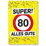 DankeDir! 80 Alles Gute - PVC Schild (Gelb), Geschenk 80. Geburtstag, Geschenkidee Geburtstagsgeschenk Zum Achtzigsten, Geburtstagsdeko/Partydeko/Party Zubehör/Geburtstagskarte