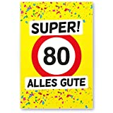 DankeDir! 80 Alles Gute - Kunststoff Schild (Gelb), Geschenk 80. Geburtstag, Geschenkidee Geburtstagsgeschenk Achtzigsten, Geburtstagsdeko/Partydeko / Party Zubehör/Geburtstagskarte