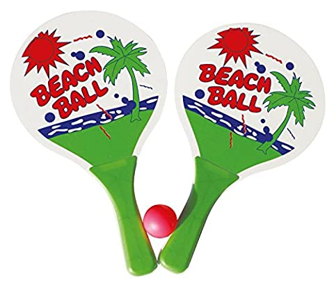 Idena 7408448 - Beachball Set, 2 Holzschläger und 1 Ball