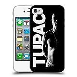 Offizielle Tupac Shakur Schwarz Weiss Kunst Soft Gel Hülle für Apple iPhone 4 / 4S