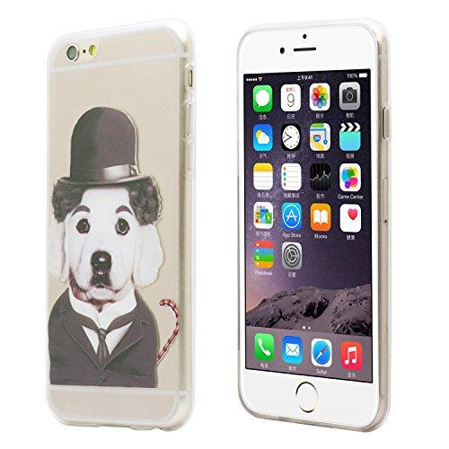 iProtect Schutzhülle Apple iPhone 6 6s Soft Case Hülle Rap Hund Edition lila Melone Hund Edition grau