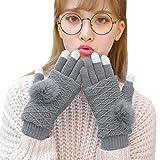 Butterme Winter Handschuhe Touchscreen Handschuhe Knit HandschuheThick Windproof Warm Handschuhe mit Kaninchen Fell Ball für Frauen Männer (Dunkelgrau)