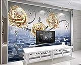 Papel Pintado 3D Fotomural Fantasia Oro Diamante Joyas Flor Mural...