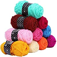 Kurelle Pack de 10 Madejas Hilo de tejer/Acrílico lana - Perfecto para Crochet y Tejer - Hilado grueso para acolchar en una variedad de colores - 80 Metros Hilo de algodón 10 x 50g