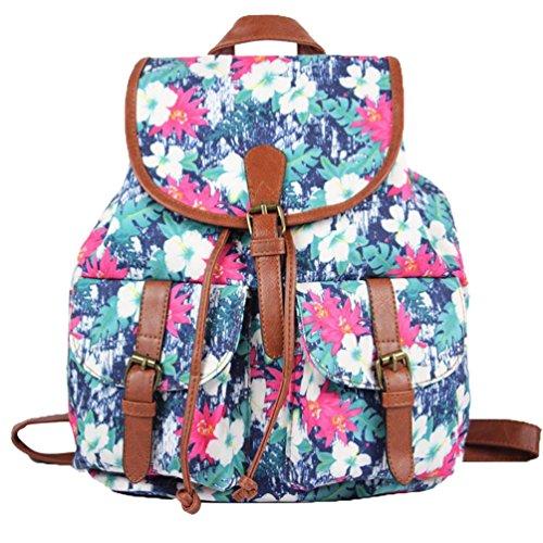 YiLianDa Vintage Casual Canvas Backpack Junge Damen Freizeit Rucksäcke Mädchen für Schule Reisen Tasche B