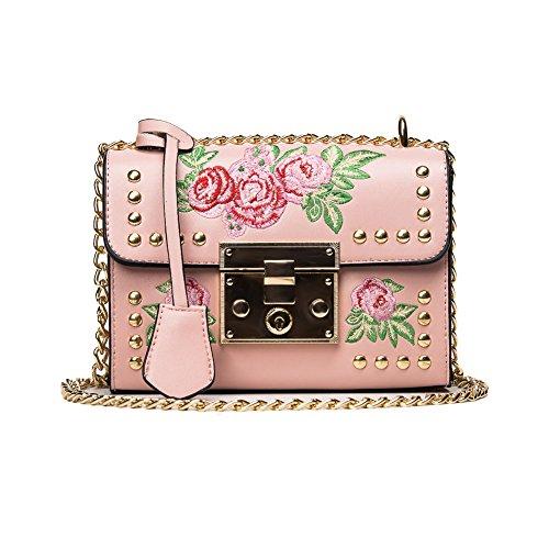 Baggra Mädchen Damen Leder Kurier Beutel Blumen Handtaschen Dame Kleine Umhängetasche Schultertasche Schwarz/Weiß (rosa)