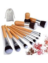 Set de pinceles de maquillaje de 11 pzs. De bambú. Kit de herramientas de pincel de maquillaje para maquillaje de colorete. Sombra de ojos Delineador de ojos. Pinceles de belleza con cerdas sintéticas