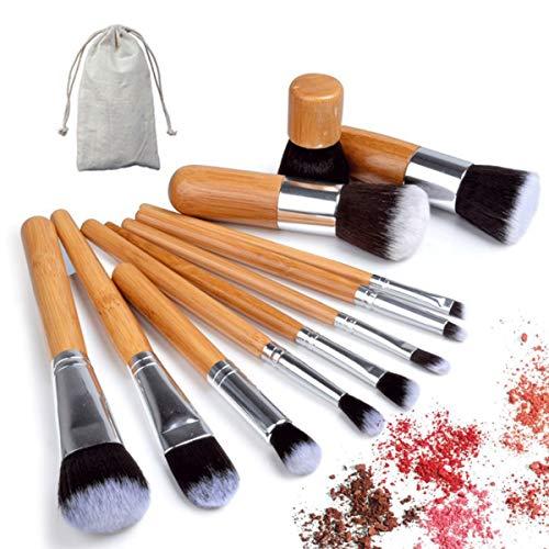 Set pinceles maquillaje 11 pzs. De bambú. Kit herramientas
