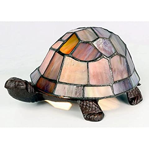 Tiffany Style Pearl Effect Turtle / Tortoise Table Lamp 22cm