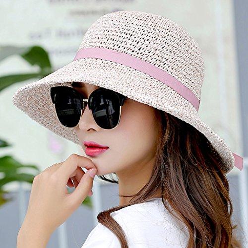 2b6ac71c6b79d WQLQL Sombrero de paja de sol de moda Sombrero de paja de Sun Sombrero de  paja de sol de verano femenino Protector solar Visor d