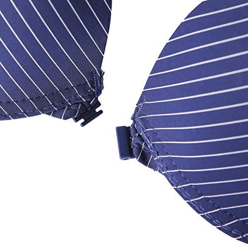 UKKD BHS für Damen, gestreift, spitz, B C, Push-Up-Pad, Draht Unterwäsche, BH, Bralette Intim-Reißverschluss vorne Gr. 85B, LT - 3