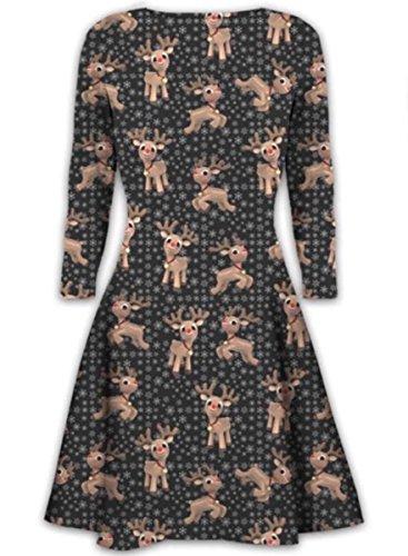Womens Ladies Long Sleeves Olaf Santa Gifts Bells Gingerbread Christmas Xmas Printed Novelty Flared Swing Dress Top Plus Size