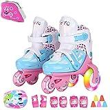 Sumeber Inline Pattini a rotelle per Bambini, Linea Tripla, Lunghezza variabile, per Interni ed Esterni, Bianco, Più colori disponibili
