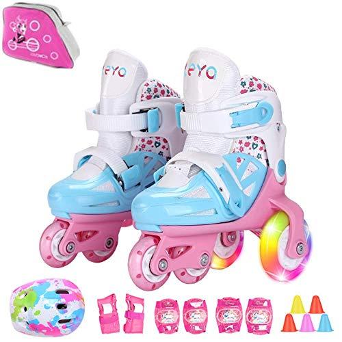 Sumeber Inline Kinder Skates Tri-Linie mit veränderbarer Länge Kid Jungen Mädchen Rollschuhe Outdoor/Indoor (Blau, S(31-34))
