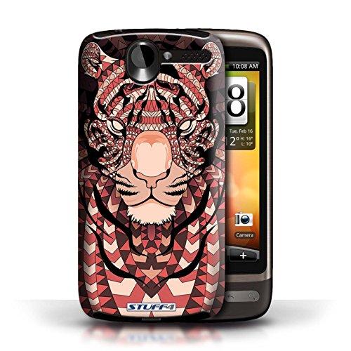 Coque de Stuff4 / Coque pour HTC Desire G7 / Loup-Bleu Design / Motif Animaux Aztec Collection Tigre-Rouge