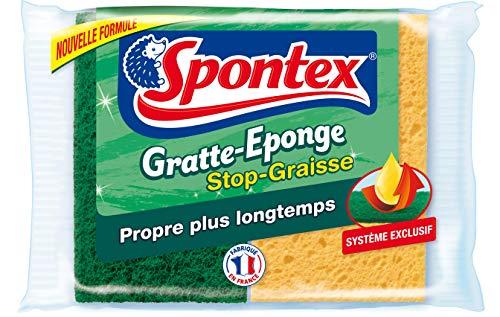 SPONTEX Gratte-Eponge Stop-Graisse - Lot de 3 packs de 2 éponges