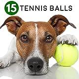 Set di 15 palline verdi morbide da tennis - Ideali per lo sport, i giochi, il gioco in spiaggia - Texture morbida perfetta per giocare con i cani - Balle Giocattoli Ideali sia per gli animali che per gli umani