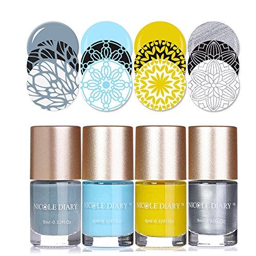 NICOLE DIARY 4 Stücke Nail art Stamping Lacke Helle Farbe Kreative Nagellack Sammlung Nagelplatte Lack für Maniküre Druck Dekoration (Set 4) (Helle Farben Nagellack)
