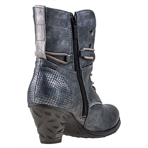 Mustang 1255-503-873 Schuhe Damen Schnür Stiefeletten Ankle Boots Blau