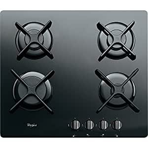 Whirlpool AKT 6400/NB Built-in Gas Black hob - Hobs (Built-in, Gas, Glass, Black, Rotary, Top front)