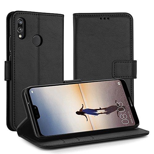 Simpeak für Huawei P20 Lite Leder Hülle, Flip Wallet Case Cover für Huawei P20 Lite [Kartensteckplätze] [Stand Feature] [Magnetic Closure Snap],Schwarz Wallet Case Cover