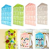 House of kart New Arrival Hanging Wall Pocket Storage Bag Candy Color Transparent Underwear Socks Slippers Jewelry Wardrobe Organizer (green)
